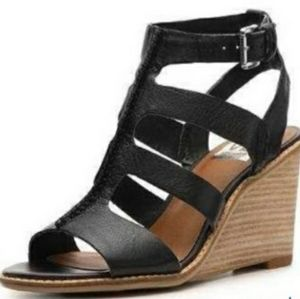 New Dolce Vita Candice black leather wedge sandals